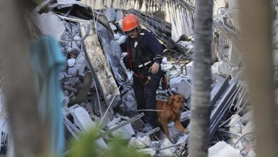 A wing of a 12-story beachfront condominium building fell with a thunder in a town outside Miami early Thursday, killing in any event one individual and catching occupants in rubble and bent metal.