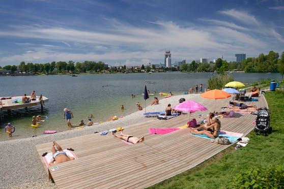 The Old Danube is always well attended in summer.